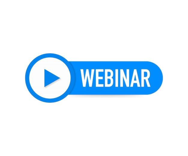 Webinar-ikone, flache designart mit blauem spielknopf. Premium Vektoren