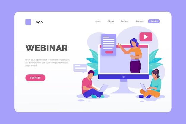 Webinar-landingpage-vorlage Kostenlosen Vektoren