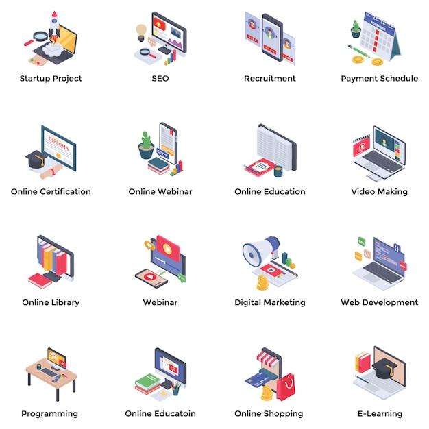Webinar podcasting isometrische icons set Premium Vektoren
