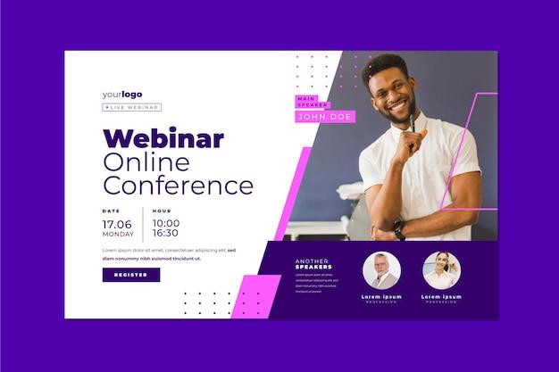 Webinar vorlage banner einladung für online-konferenz Premium Vektoren