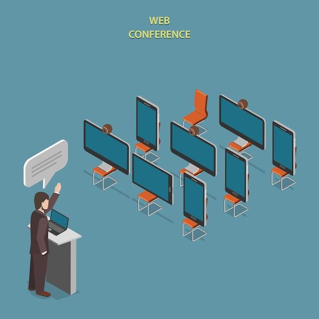 Webkonferenz flat isometric. Premium Vektoren