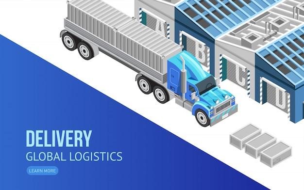 Webseite über lieferung und globale logistik Premium Vektoren