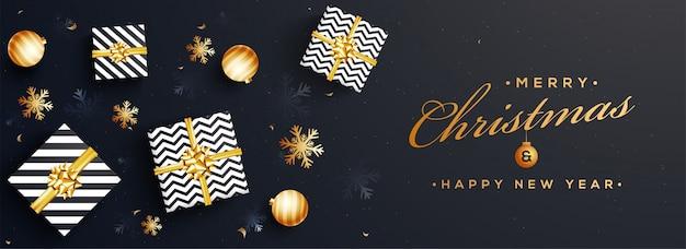 Website-banner der frohen weihnachten und des guten rutsch ins neue jahr. Premium Vektoren
