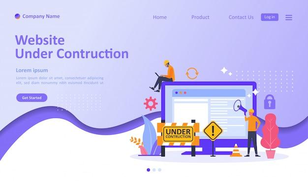 Website befindet sich im aufbau landing page Premium Vektoren