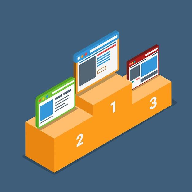 Website beste top-bewertung bewertung podium sockel konzept. Premium Vektoren
