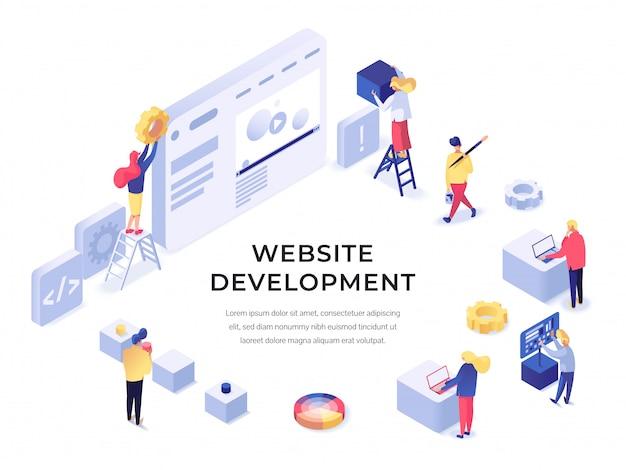 Website-entwicklung isometrisch Premium Vektoren