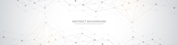 Website-header oder banner-design mit abstraktem geometrischen hintergrund und verbindungspunkten und linien. globale netzwerkverbindung. digitale technologie mit plexushintergrund und platz für ihren text. Premium Vektoren