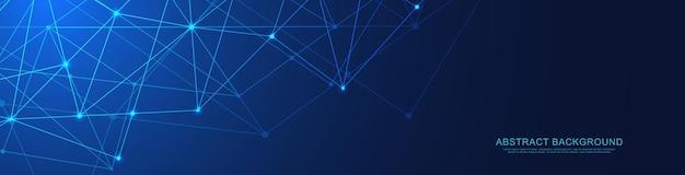 Website-header oder banner-design mit abstraktem geometrischen hintergrund und verbindungspunkten und linien. Premium Vektoren