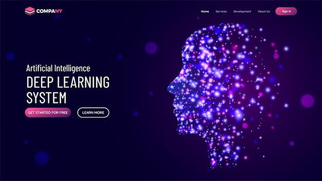 Website held banner mit menschlichem gesicht Premium Vektoren