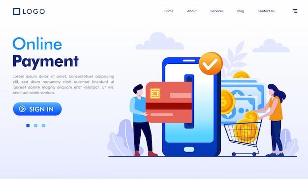 Website-illustrationsvektor der online-zahlungslandungsseite Premium Vektoren