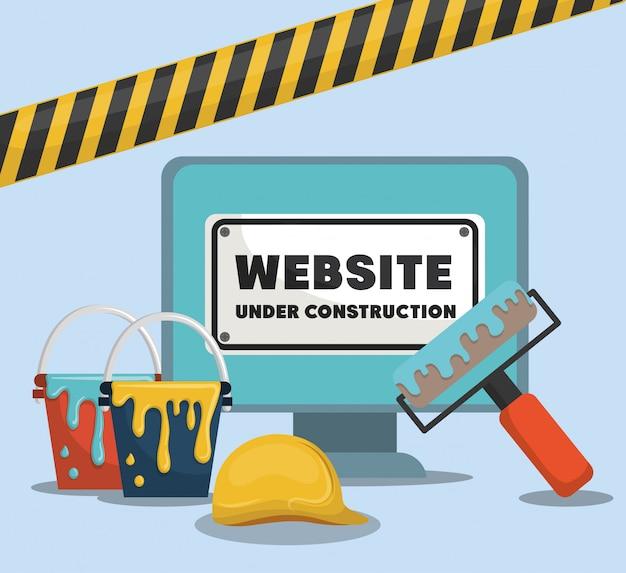 Website im aufbau mit desktop-computer Premium Vektoren