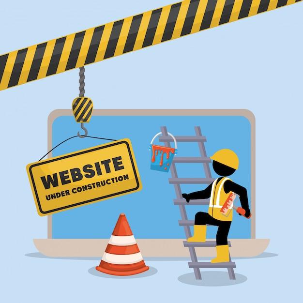 Website im aufbau mit laptop Premium Vektoren
