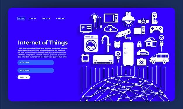 Website-konzept internet der dinge (iot). illustration. Premium Vektoren