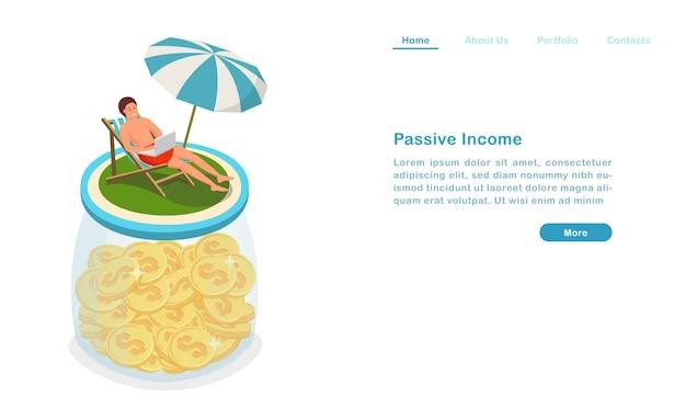Website landing page template cartoon passives einkommen konzept geld verdienen und berufung gleichzeitig genießen Premium Vektoren