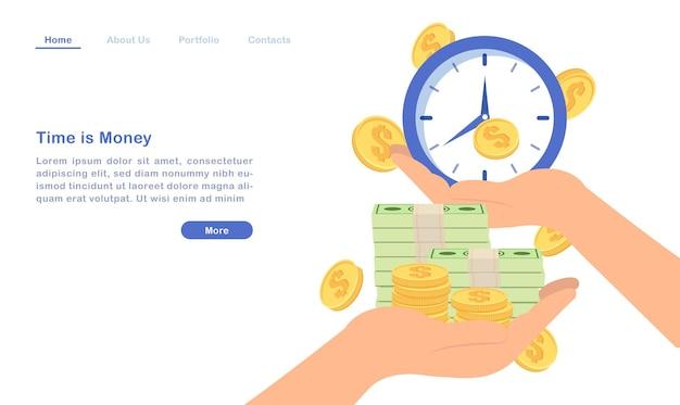 Website landing page template cartoon zeit ist geld konzept goldene münze rechnung und uhr Premium Vektoren