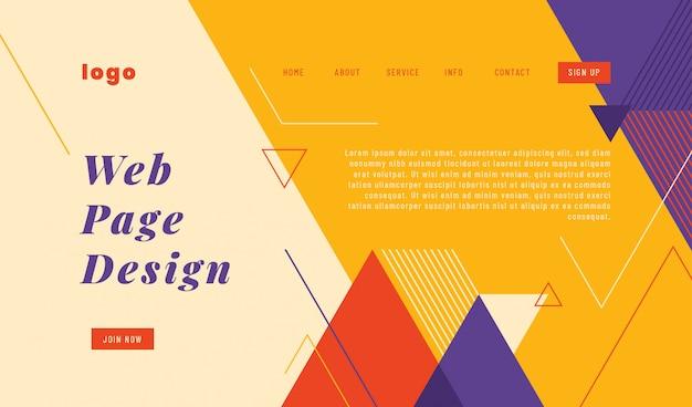 Website-landingpage-template-design im geometrischen abstrakten stil. Premium Vektoren