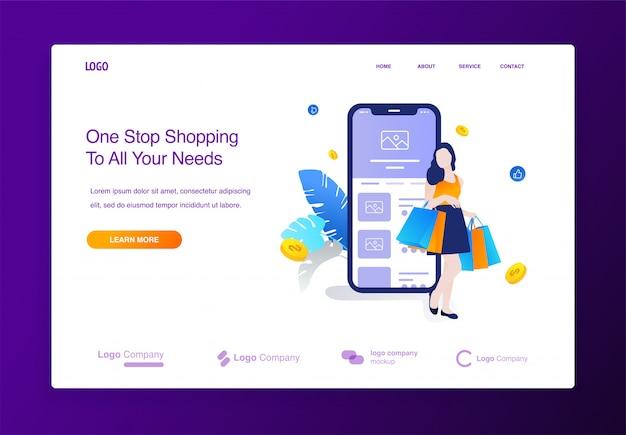 Website mit den glücklichen frauen, die das on-line-einkaufen, mobiles anwendungskonzept illus des großen verkaufs machen Premium Vektoren