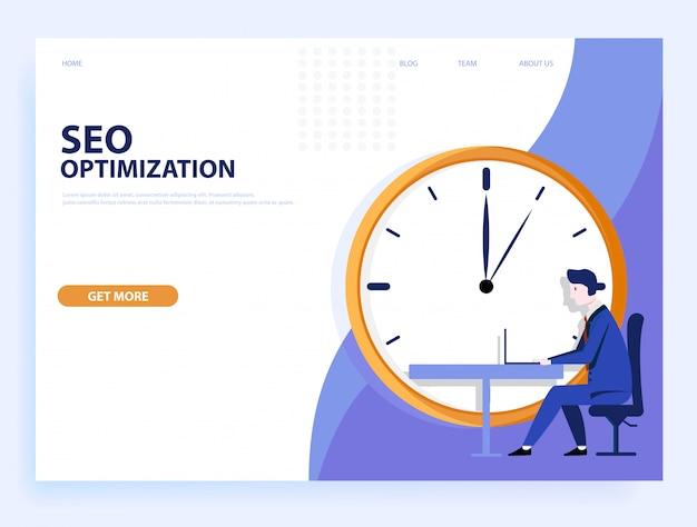 Website . seo optimierung schnell. konzept für website und mobile. Premium Vektoren