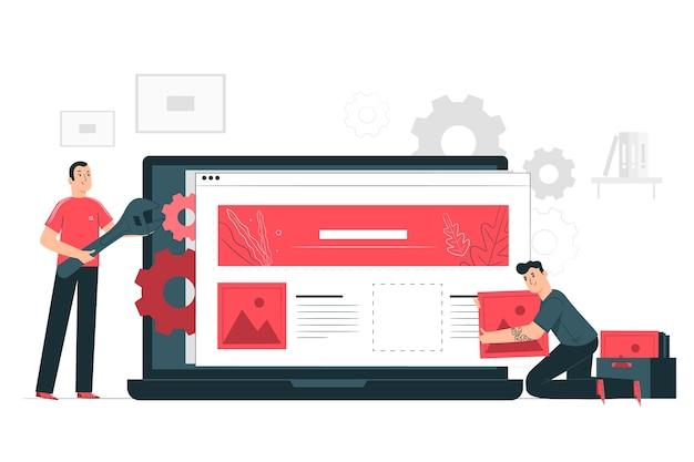 Website-setup-illustration-konzept Kostenlosen Vektoren