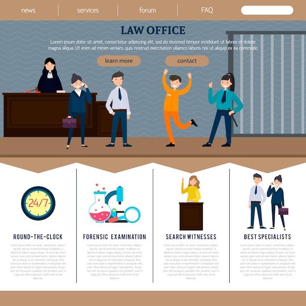 Website-vorlage für anwaltskanzleien Kostenlosen Vektoren