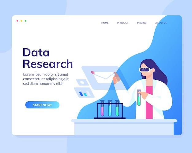 Website-vorlage für data scientist analysis research science Premium Vektoren