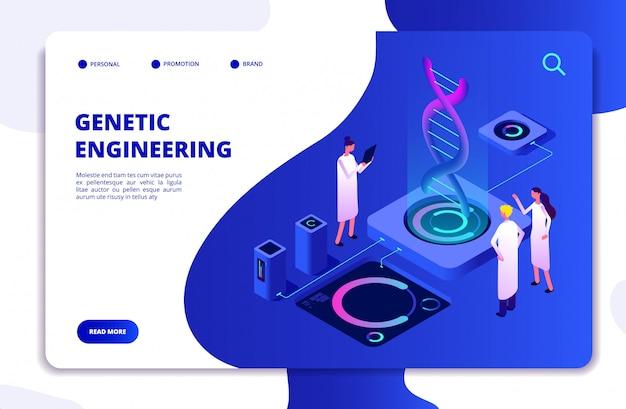 Website-vorlage für dna-nanotechnologie-biochemie und humangenom Premium Vektoren