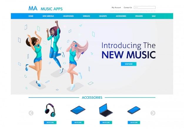 Website-vorlage. isometrische konzept musikalische landingpage für den verkauf von musikzubehör und anwendungen, junge mädchen hören musik. einfach zu bearbeiten und anzupassen Premium Vektoren