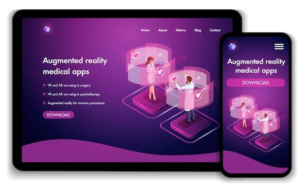 Website-vorlage. isometrisches medizinisches konzept der arbeit von ärzten augmented reality-konzept. vr und ar werden in der chirurgie eingesetzt. einfach zu bearbeiten und anzupassen Premium Vektoren