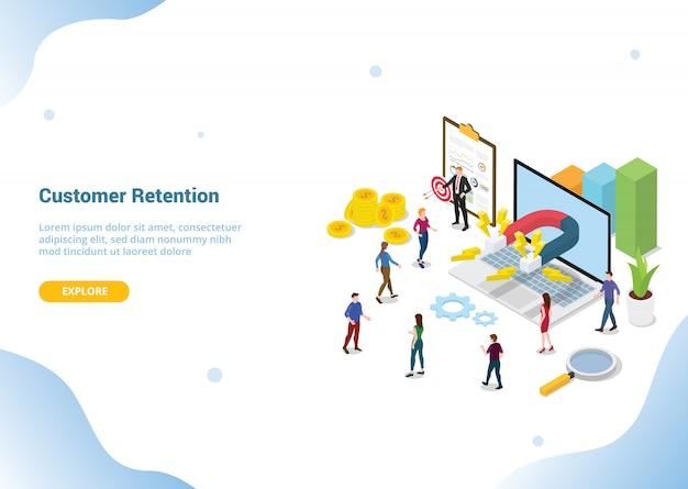 Website-vorlage landing homepage. kundenbindungsmarketing-konzept Premium Vektoren