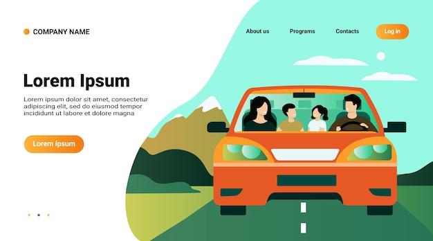Website-vorlage, landingpage mit illustration der glücklichen familie, die in der isolierten flachen vektorillustration des automobils reist Kostenlosen Vektoren