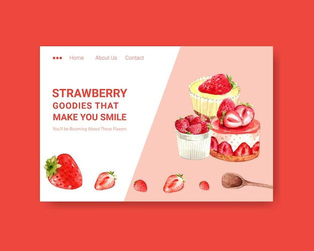 Website-vorlage mit erdbeer-back-design Kostenlosen Vektoren