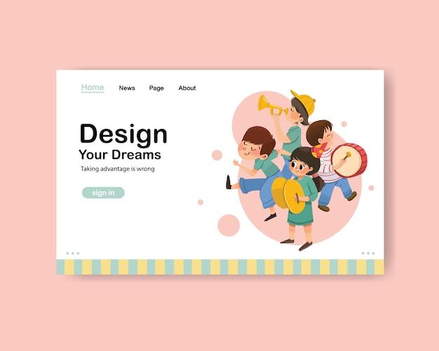 Website-vorlage mit jugendtag design Kostenlosen Vektoren