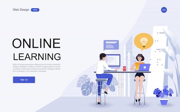 Website-vorlage online-bildung, schulungen und kurse. Premium Vektoren