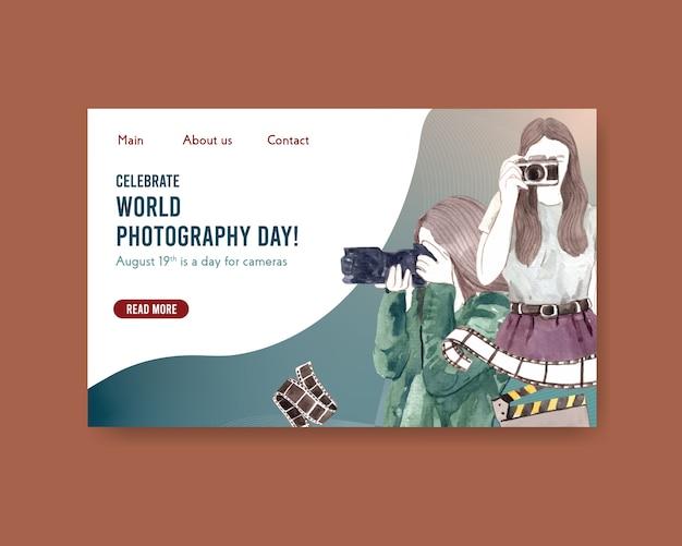 Website-vorlagen-design mit weltfotografietag für internet und online-community Kostenlosen Vektoren