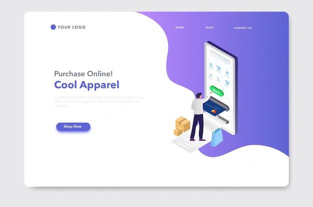 Website-zielseite der isometrischen illustration des elektronischen geschäftsverkehrs oder des online-einkaufs Premium Vektoren