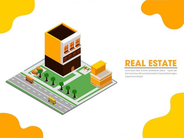 Website-zielseite mit isometrischer ansicht von immobilien. Premium Vektoren