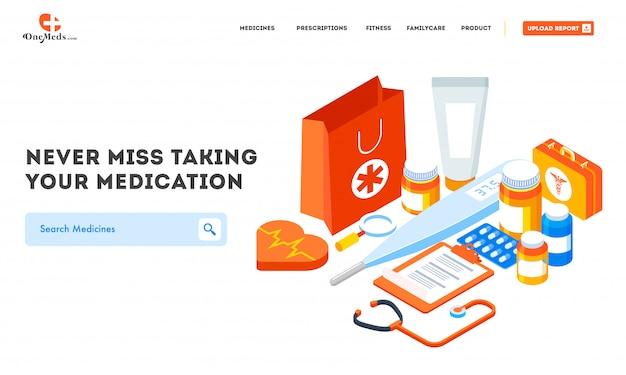 Websitefahne mit unterschiedlicher medizinischer ausrüstung Premium Vektoren