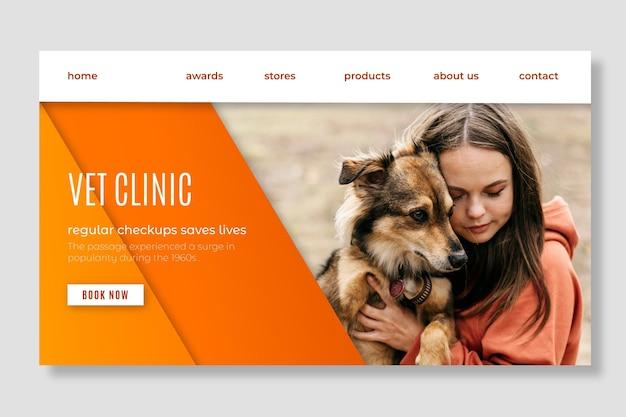 Webvorlage der landingpage der tierklinik für gesunde haustiere Kostenlosen Vektoren