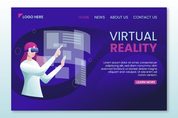 Webvorlage für die landingpage der virtuellen realität Kostenlosen Vektoren