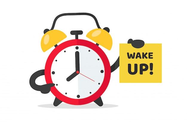 Wecker zum aufwachen zur arbeit. der rote weckervektor zeigt auf eine note, die aufwacht. Premium Vektoren