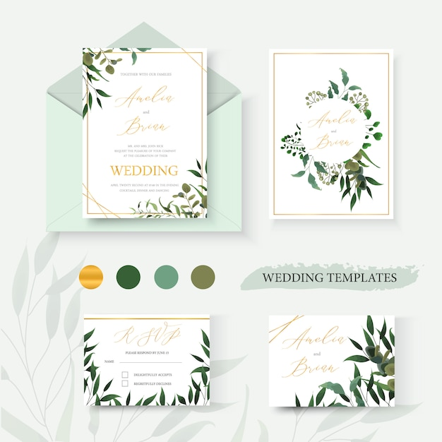 Wedding blumengoldeinladungskartenumschlag retten den datums-uawgentwurf mit grünem eukalyptuskranz und -rahmen der tropischen blattkräuter. botanische elegante dekorative vektorschablonen-aquarellart Kostenlosen Vektoren