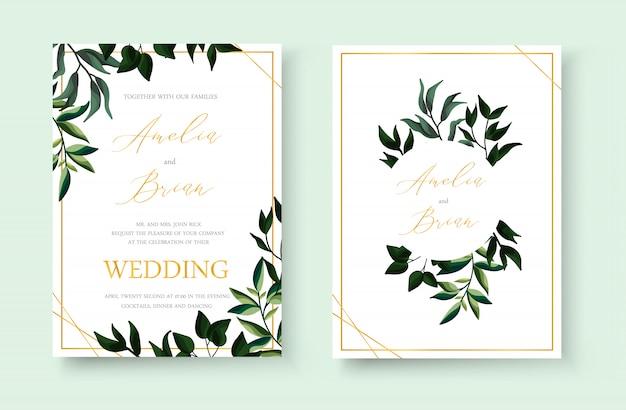 Wedding goldene einladungsmit blumenkartenabwehr das datumsentwurf mit grünem tropischem blattkräuterkranz und -rahmen. botanische elegante dekorative vektorschablonen-aquarellart Kostenlosen Vektoren