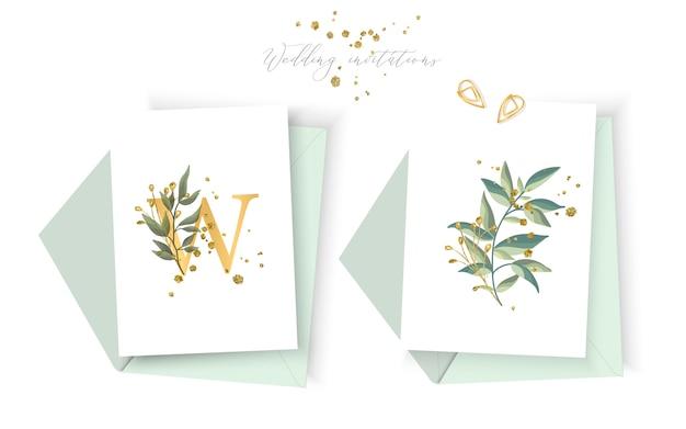 Wedding goldener einladungskartenmit blumenumschlag retten den datumsminimalismusentwurf mit grünen tropischen blattkräutern und gold plätschert. botanische elegante dekorative vektorschablonen-aquarellart Kostenlosen Vektoren