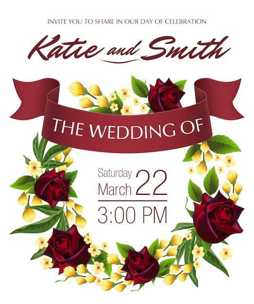 Wedding retten das datum mit gelbem blumenkranz, roten rosen und kastanienbraunband. Kostenlosen Vektoren