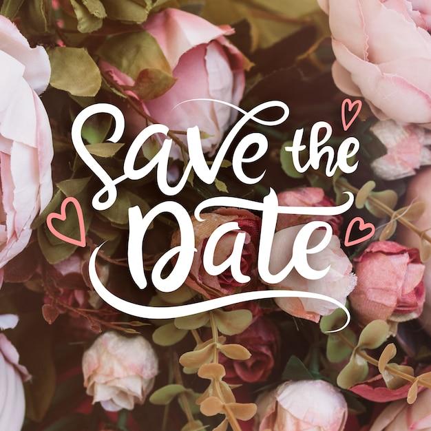 Wedding save the date mit foto Kostenlosen Vektoren