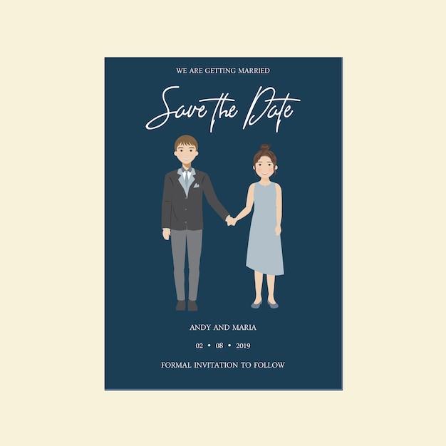 Wedding save the date nette einladungskarte, paar-charakter-illustration Premium Vektoren