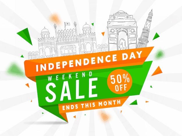 Weekend sale poster und line art india berühmte denkmäler auf weißen strahlen hintergrund für unabhängigkeitstag. Premium Vektoren