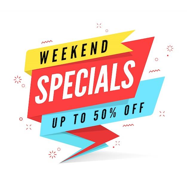 Weekend specials verkauf banner vorlage. Premium Vektoren