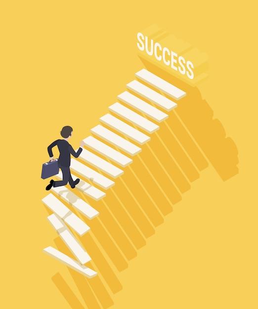 Weg zum erfolg im geschäft. geschäftsmann mit dem aktenkoffer, der die treppe zum erfolg steigt Premium Vektoren