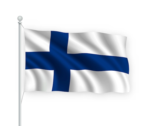 Wehende flagge finnland auf fahnenmast isoliert auf weiß Premium Vektoren